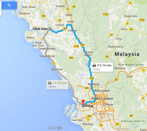 Route from Teluk Intan to Klang